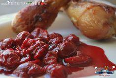 Sos de Visine pentru Friptura (Reteta Video) Stuffed Peppers, Chicken, Vegetables, Ethnic Recipes, Food, Mai, Knits, Sauces, Dressing