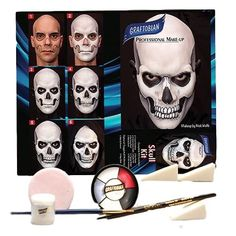 Clown Makeup for Mens - Skull Complete Make-up Kit By Graftobian, Halloween, FX, Ske. Sugar Skull Makeup, Clown Makeup, Fx Makeup, Halloween Makeup Kits, Halloween Kostüm, Halloween Costumes, Makeup You Need, Makeup Needs, Skeleton Makeup