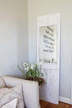 Replacing the glass with a mirror on an old door or window is a fantastic idea.  I think I'll hang mine on the wall. The Farmhouse - Magnolia Homes