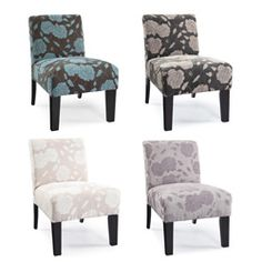 Available in four vibrant colors, this chair is made with upholstery-grade fabrics and foam. With a rose design, this chair will highlight any area with its hardwood frame featuring legs in an espresso finish.