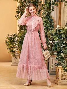 Dress P, Lace Dress, Modest Dresses, Dresses With Sleeves, Ruffle Trim, Ruffle Sleeve, Tie, Long Sleeve, Fashion