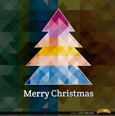 This background shows a colorful polygonal Christmas tree with a polygon backdrop behind. It is perfect for using in any material you want to make for Christmas promos or messages. Our team wishes you a Merry Christmas. High quality JPG included. Under Commons 4.0. Attribution License.