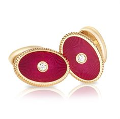 Dark Cherry Red Enamel Cufflinks - Fabergé  Boris Cufflinks
