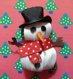 Snowman Sculpted Ribbon Hair Clip by dkazoriginals, via Flickr