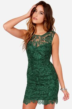 Demure Darling Backless Forest Green Lace Dress at Lulus.com! $66