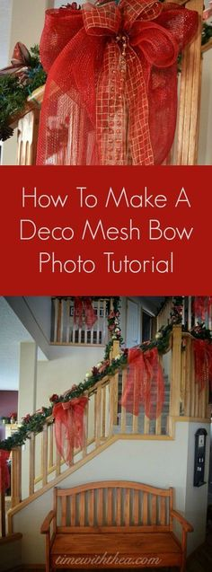 How To Make A Deco Mesh Bow Photo Tutorial ~ Step-by-step instructions showing how to make a stunning large bow using deco mesh, ribbon and bead garland! / http://timewiththea.com