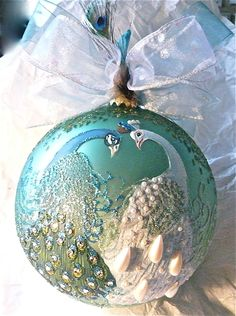 Perfect for a peacock Christmas tree! Peacock Christmas Tree, Peacock Ornaments, Hand Painted Ornaments, Noel Christmas, Christmas Balls, All Things Christmas, Glass Ornaments, Christmas Crafts, Xmas