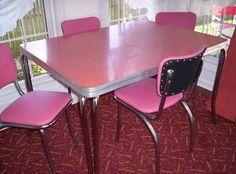 Dining Tables And Chairs Vintage Formica Retro Formica Table Chairs Dinette Set Images 21 - Home Interior Design Ideas Kitchen Chairs For Sale, Retro Kitchen Tables, Retro Dining Rooms, Retro Table, Vintage Table, Vintage Kitchen, Vintage Pink, Dining Sets, Kitchen Stuff