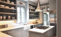 DREAM KITCHEN! Grey cabinets, overwized light, exposed shelves, island...