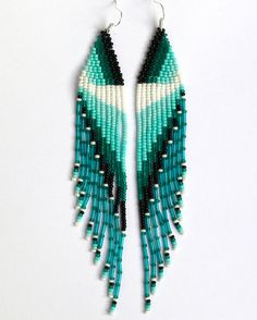 IDEA Native American Beaded Earrings inspired. Very Long Earrings. Fringe Earrings. Beadwork