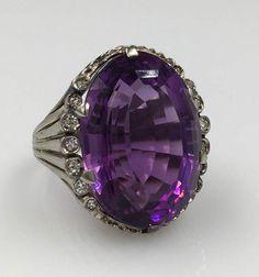 Anneau de grand ovale améthyste diamant 18K - 18K or blanc Carats 19 Déclaration améthyste bague taille 5, RNG1550 de Pierre de naissance de février