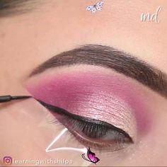 SIMPLE PINK EYE LOOK TUTORIAL IDEA A guaranteed heart-stealer look! By: @learningwithshilpa<br> Makeup Eye Looks, Smoky Eye Makeup, Hooded Eye Makeup, Hooded Eyes, Sexy Makeup, Eyeshadow Tutorial For Beginners, Easy Makeup Tutorial, Makeup For Beginners, Pink Eyeshadow