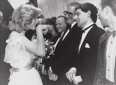 """""""You!"""" – Princess Diana meets comedian Rowan Atkinson while greeting the cast of the 'Royal Variety' show in 1984."""