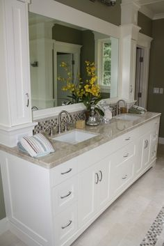 Counter, cabinets, backsplash details, framed mirror
