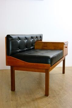 Mad Men Mid-century 60's Retro Telephone Table And Black Faux Leather Seat Bench