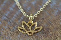 Gold Lotus Necklace Lotus Charm Necklace by ShinyLittleBlessings