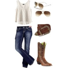 A fashion look from January 2013 featuring H&M tops, Miss Me jeans and Ariat boots. Browse and shop related looks.