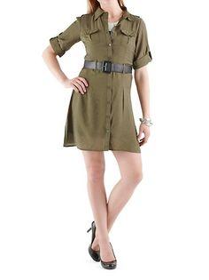 dots: Woven Shirt Dress with Belt