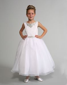 This bridal inspired dress by Sweetie Pie Collection features a gorgeous satin bodice adorned with a rhinestone neckline as well as waistline. White Flower Girl Dresses, Flower Girls, Wedding Dressses, Organza Dress, Dresses For Less, Layered Skirt, Bodice, Neckline, White Satin