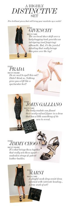 A HIGHLY DISTINCTIVE SET  ||    Five brilliant pieces that will bring your wardrobe up a notch!  1.http://shop-hers.com/products/518-danar-givenchy-dress   2. http://shop-hers.com/products/809-missy-prada-heels   3. http://shop-hers.com/products/461-danar-john-galliano-dress   4. http://shop-hers.com/products/1236-yvette-jimmy-choo-heels   5. http://shop-hers.com/products/455-kristac-marni-dress
