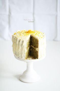 ... matcha tea cake with mascarpone cheese frosting & orange peel ...