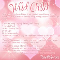 Wild Child Cardio Routine from Tone It Up! I'm obsessed with all their work outs. Tone It Up, Weekly Workout Schedule, Cardio Routine, Cardio Hiit, Exercise For Kids, Loving Your Body, Wild Child, I Work Out, Up Girl