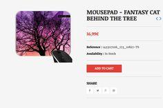 MOUSEPAD - FANTASY CAT BEHIND THE TREE    #grabyourdesign #design #mousepad #fantasy #cat #tree