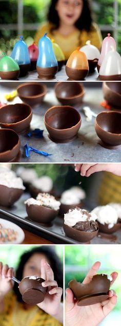 Coupes en chocolat pour Pâques /  Easter chocolate cups