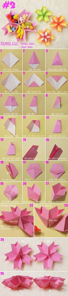 Origami little flower containers - Origami Cards, Origami Paper Folding, Origami And Kirigami, Paper Crafts Origami, Origami Easy, Diy Paper, Dollar Origami, Creation Deco, Origami Tutorial