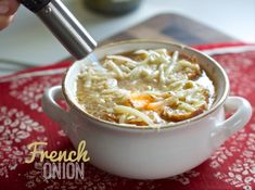 Summer-worthy French onion soup, using sweet Vidalia onions! Delicious even when it's hot out: http://www.dinnervine.com/2014/07/french-onion-soup/