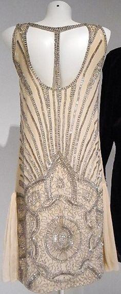 silver beads on peach [1920s dress]