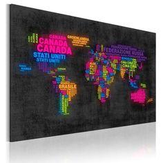 Quadro - Mappa del mondo: nomi dei paesi in italiano