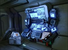 If I make a sci-fi building level I thing I am more likely to create a research facility I may have control panels like this around the map. Spaceship Interior, Spaceship Design, Cyberpunk, Futuristic Art, Futuristic Technology, Science Fiction, Millenium, Sci Fi Environment, Sci Fi Ships