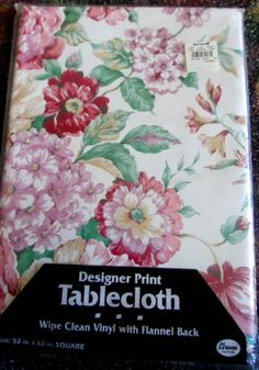 VINYL TABLECLOTH FLANNEL PINK PURPLE RED FLORAL 52 X 52 SQUARE NEW