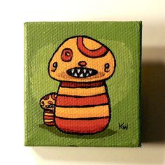 Mushroom Monsters Painting Original Tiny Wall Art on Miniature Canvas by artist Karen Watkins kmwatkins on Etsy