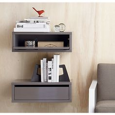 """belowdimensions:slice grey wall mounted storage shelf. 23.75""""Wx11.5""""Dx8""""Hdetails: Designed by Mark Daniel of Slate DesignHi-gloss grey lacquer over solid and engineered woodHang horizontally; mounting hardware includedMade in Vietnam"""