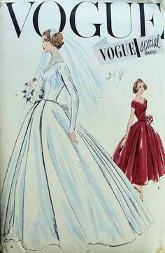 Vogue S-4747; ca. 1957; Bride's or Bridesmaid's dress. The wide skirt in two lengths has an...