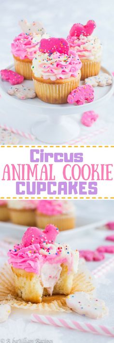 Circus Animal Cookie Cupcakes | A baJillian Recipes - Fluffy white cupcakes filled with creamy animal cookie-speckled filling, topped with a pink and white ruffly swirl of buttercream and crowned with my all-time favorite cookie!