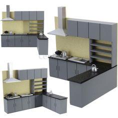 1:25 Miniature Dollhouse Art Modern Kitchen Cabinet Set Model Furniture Kit Gift in Toys, Hobbies, Model Building, Other Model Building | eBay