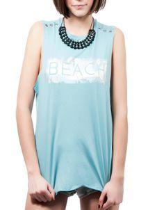 #Camiseta sin mangas estampado #beach color azul claro. 9,99€ www.shana.com #ropa #clothes #summer