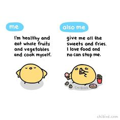 """Some days I'm like, """"yeah, going to cut out processed foods!"""" and other days I'm like """"yum pop-tarts"""". >3< #cute #health #food #humor #fruit #chibird #art"""