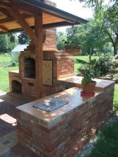 45 Comfy Diy Ideas For Upgrade Kitchen Outdoor To Try Asap Brick Built Bbq, Brick Bbq, Bbq World, Backyard Bbq Pit, Outdoor Grill Area, Outdoor Barbeque, Stone Bbq, Diy Outdoor Fireplace, Bbq Grill