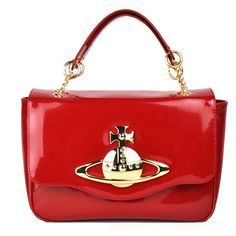 vivienne westwood womens patent orb shoulder bags with Flap in red for sale