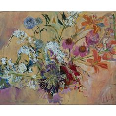 """* Acrylic Painting on canvas * Size: 24""""L. x 30""""W. View all Lila Bacon paintings http://www.sweetheartgallery.com/collections/artist-lila-bacon-acrylic-floral-paintings"""