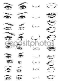 Juego de ojos de mujer, labios, cejas y narices como negro dibujar elementos de…