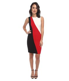 Calvin Klein Calvin Klein  Color Block Sheath CD4X1274 Red Multi Womens Dress for 82.99 at Im in!