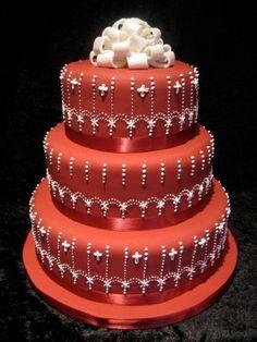 Tort de nunta rosu/portocaliu rotund pe etaje #red #orange #round #wedding #cake