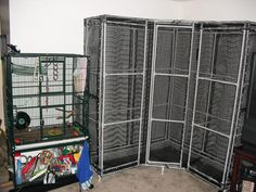 Corner cage, such an awesome idea. Can make it any size I want!  #DIY cage for Sugar Gliders