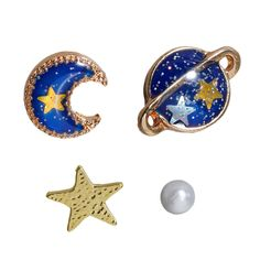 FUNIQUE 1Set(5pcs) Girls Womens Studs Earrings Stars & Moon & Universe Enamel Decorative Fashion Pearl Ear Studs Summer Style. Yesterday's price: US $0.99 (0.82 EUR). Today's price: US $1.53 (1.26 EUR). Discount: 28%.