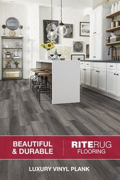 Luxury vinyl plank (LVP) and luxury vinyl tile (LVT) flooring are quickly becoming the most popular flooring options on the market. Vinyl Flooring Rolls, Gym Flooring Tiles, Luxury Vinyl Flooring, Luxury Vinyl Plank, Rubber Flooring, Kitchen Flooring, Flooring Ideas, Floors, Kitchen Tiles